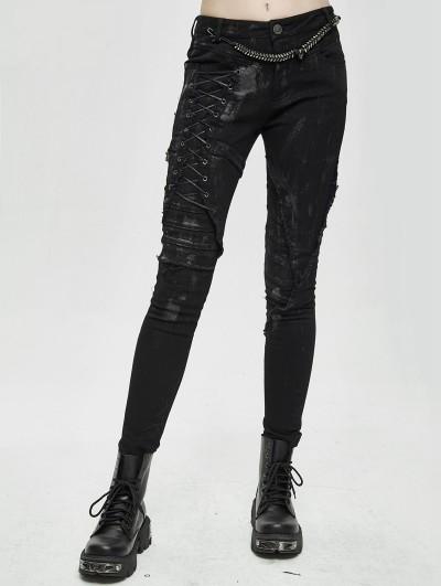 Devil Fashion Black Gothic Punk Slim Long Pants for Women