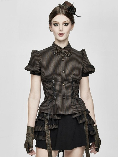 Devil Fashion Brown Stripe Steampunk Short Sleeve Shirt for Women