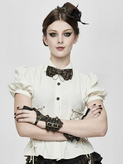 Devil Fashion Ivory Stripe Steampunk Short Sleeve Shirt for Women