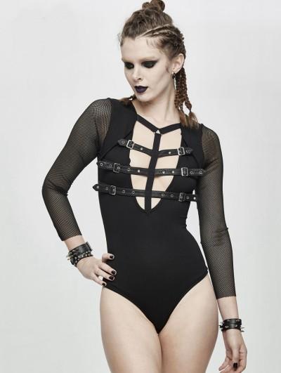 Devil Fashion Black Sexy Gothic Punk Belt Siamese T-Shirt for Women