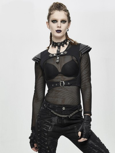 Devil Fashion Black Gothic Punk Short Top for Women