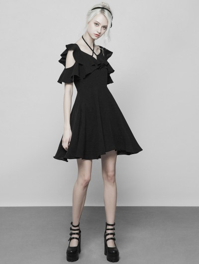 Punk Rave Black Gothic Double Lotus Leaf Chiffon Short Dress
