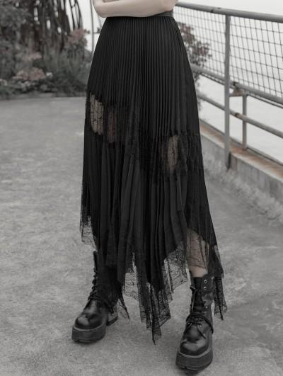 Punk Rave Black Gothic Chiffon Pleated Lace Long Skirt