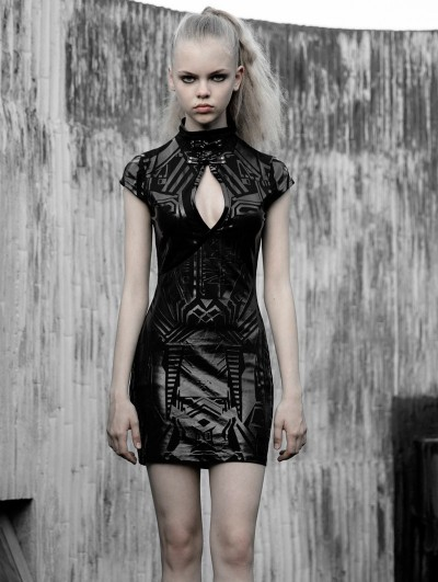 Punk Rave Black Cyber Prophet Futuristic Gothic Punk Sexy Short Dress
