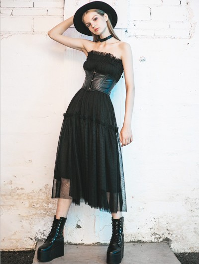 Punk Rave Black Street Fashion Gothic Summer Long Skirt/Dress