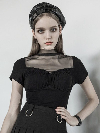 Punk Rave Black Gothic Corset Style Short Sleeve T-Shirt for Women
