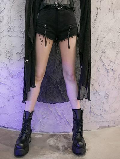 Punk Rave Black Street Fashion Gothic Punk Belt Denim Long Pants for Women