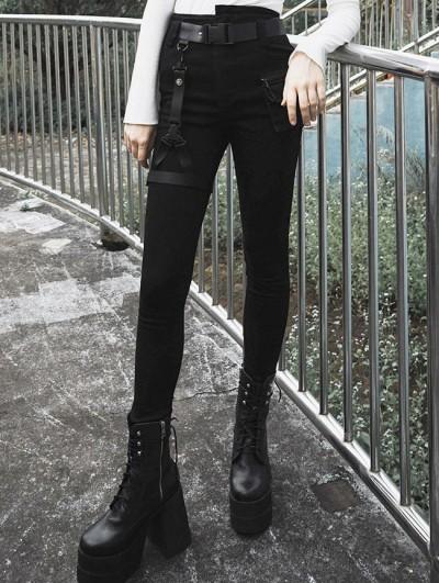 Punk Rave Black Street Fashion Gothic Punk Denim Shorts for Women