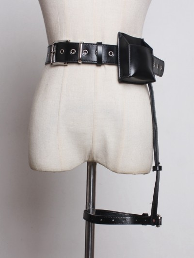 Black Gothic Punk PU Leather Belt with Detachable Bag and Garter