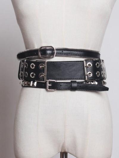 Black Gothic Punk PU Leather Rivet Zipper Wide Belt