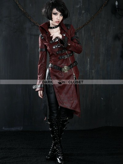 Punk Rave Wine Red Leather Gothic Punk Trench Coat for Women