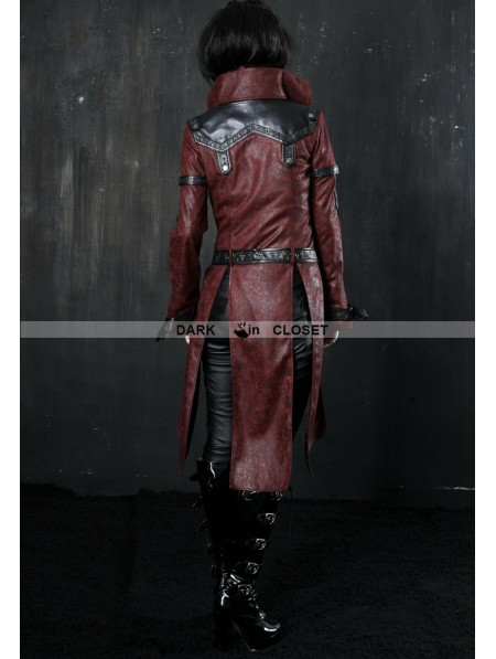 31aa12217d0 ... Punk Rave Wine Red Leather Gothic Punk Trench Coat for Women ...