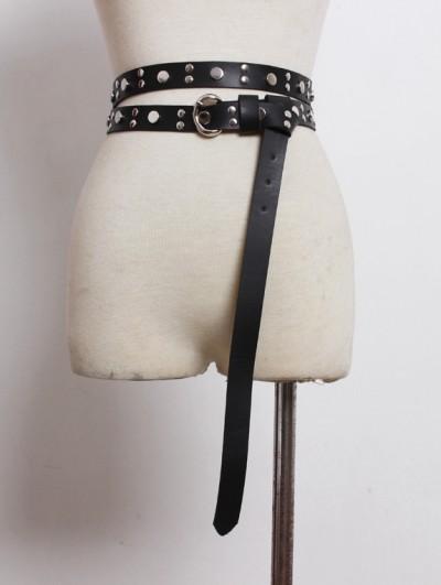 Black Gothic Punk PU Leather Rivet Long Belt