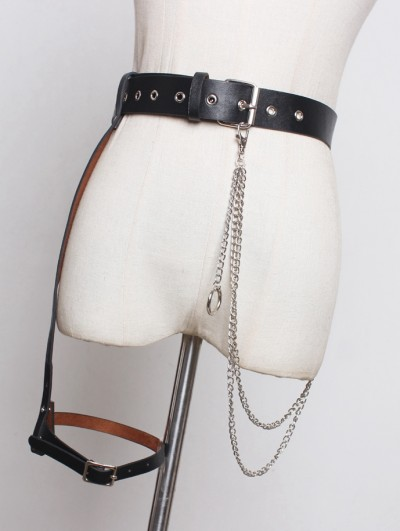 Black Gothic Punk PU Leather Belt with Detachable Chain and Garter