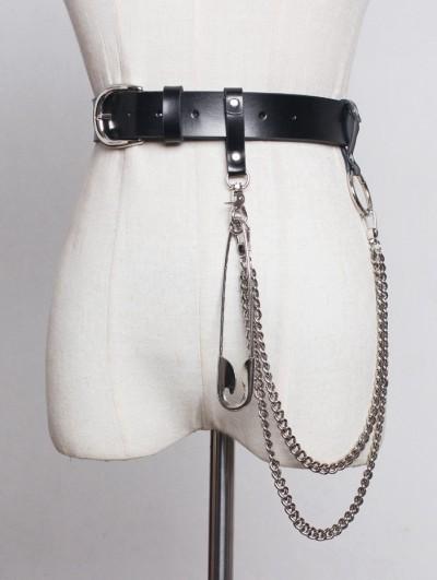 Black Gothic Punk PU Leather Pin Chain Belt