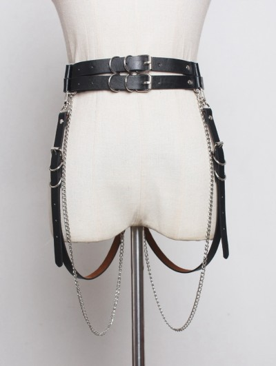 Black Gothic Punk PU Leather Chain Belt with Detachable Belts