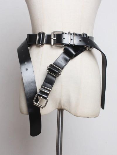 Black Gothic Punk PU Leather Belt