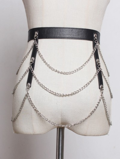 Black Gothic Punk PU Leather Belt with Chain