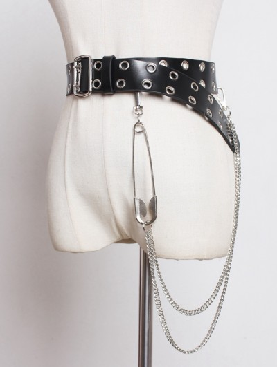 Black Gothic Punk PU Leather Belt with Pin and Chain