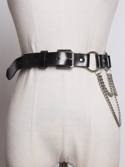 Black Gothic Punk PU Leather Ring Chain Belt