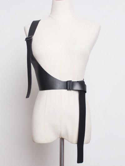 Black Gothic PU Leather One-Shoulder Belt Harness
