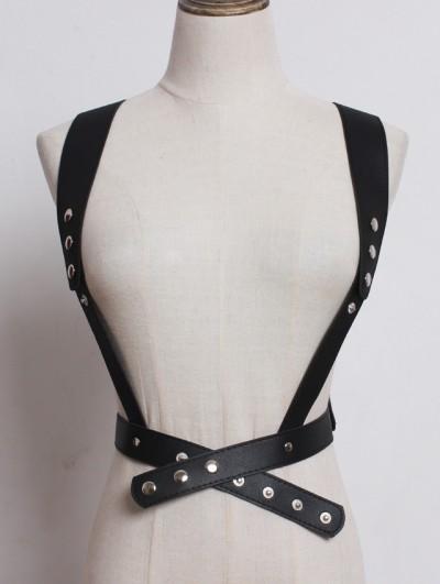 Black Gothic Punk PU Leather Rivet Belt Harness