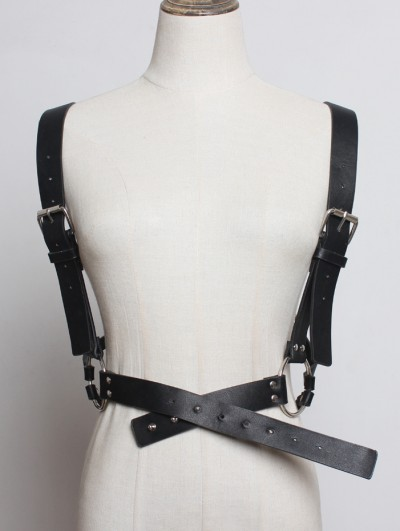 Black Gothic Punk PU Leather Pentagram Roop Harness