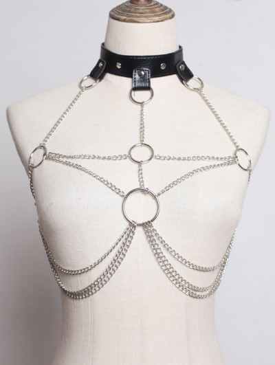 Black Gothic Punk Roop Chain Harness