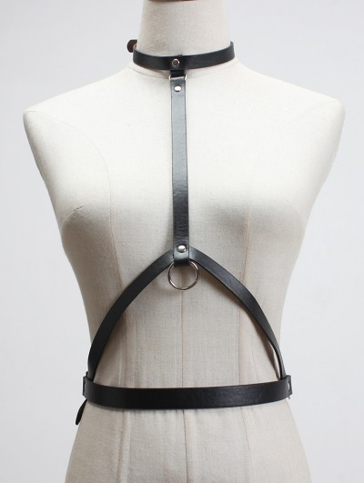 Black Gothic Punk Halter Chain Belt Harness