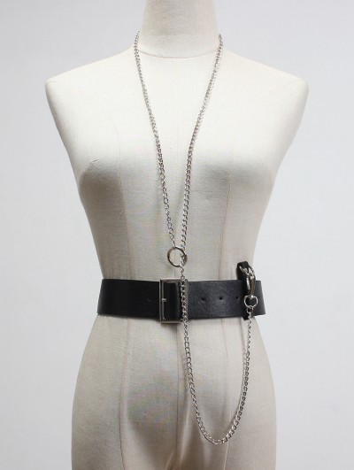 Black Gothic Punk PU Leather Buckle Belt Harness