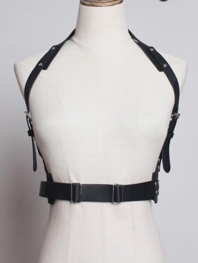 Black Gothic Punk PU Leather Buckle Belt Harness