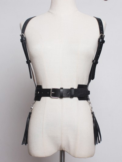 Black Gothic Punk PU Leather Tassel Buckle Belt Harness