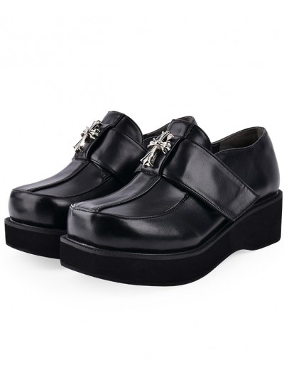 Black Gothic Punk Cross Platform Shoes for Women