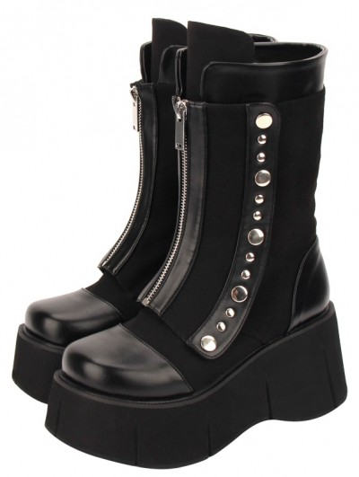 Black Gothic Punk Rivet Zipper Platform Mid-Calf Boots for Women
