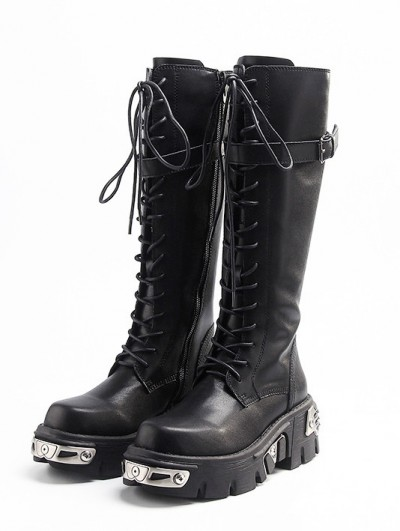 Black Gothic Punk Lace Up Knee Platform Boots for Women