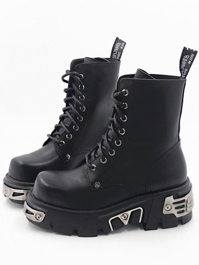 Black Gothic Punk Platform Mid-Calf Boots for Women