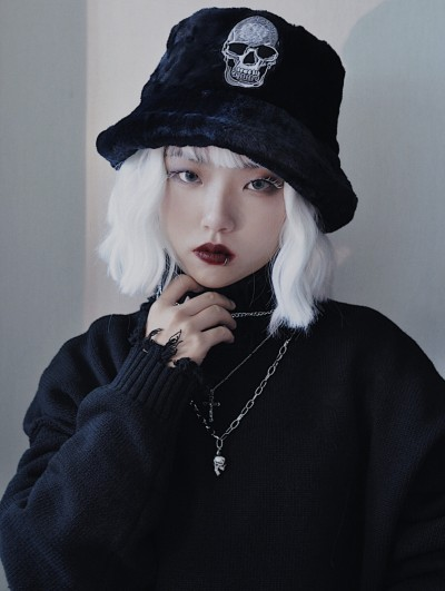 Black Street Fashion Gothic Punk Skull Hat