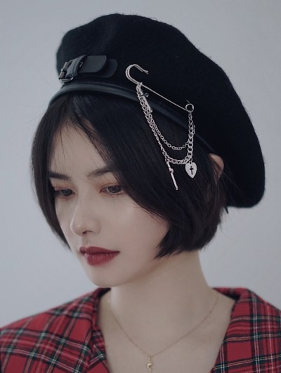 Black Street Fashion Gothic Punk Pin Chain Hat