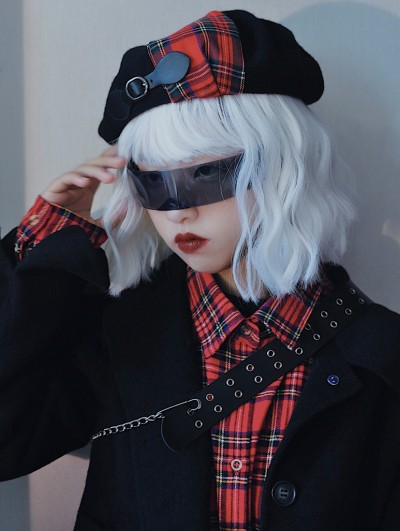 Black Street Fashion Gothic Plaid Hat