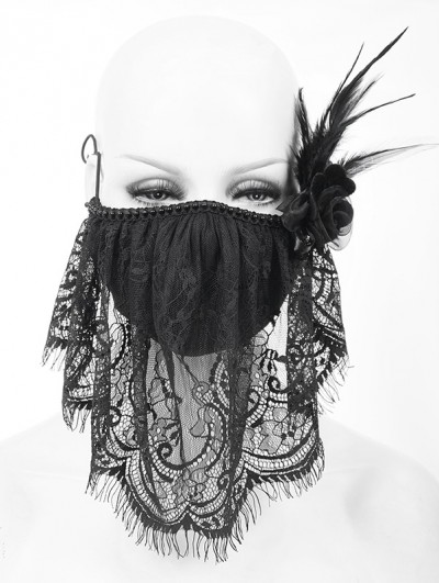 Devil Fashion Black Gothic Lace Flower Feather Mask for Women