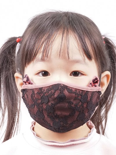Devil Fashion Pink Lace Sweet Gothic Mask for Children
