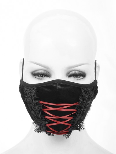 Devil Fashion Black and Red Velvet Lace Gothic Mask for Women