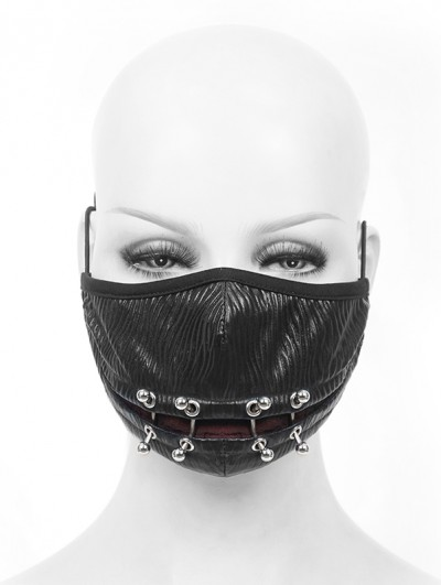 Devil Fashion Black Gothic Punk PU Leather Unisex Mask