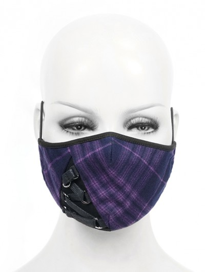 Devil Fashion Purple Plaid Gothic Punk Mask for Women