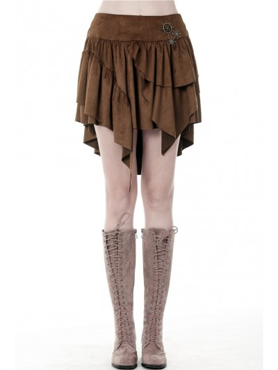 Dark in Love Brown Steampunk Irregular Short Skirt