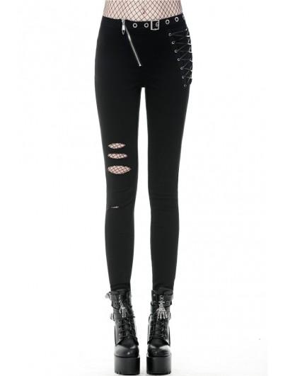 Dark in Love Black Gothic Punk Asymmetrical Slim Trousers for Women