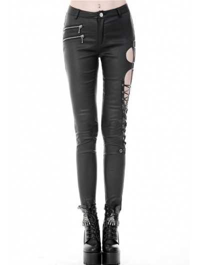 Dark in Love Black Gothic Punk Sexy Asymmetrical PU Leather Trousers for Women