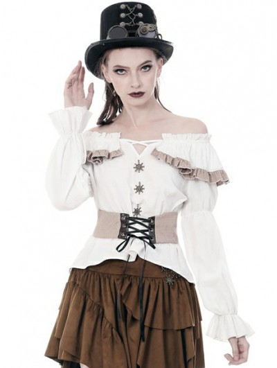 Dark in Love Women's White Steampunk Off-the-Shoulder Long Sleeve Shirt with Detachable Waistband