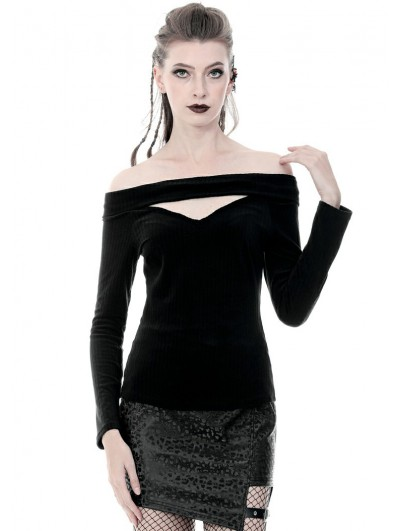 Dark in Love Black Gothic Punk Off-the-Shoulder Long Sleeve T-Shirt for Women