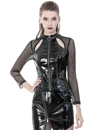 Dark in Love Black Gothic Punk PU Leather Long Sleeve Shirt for Women